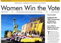 Gazette from Women's History Alliance with Women Win the Vote Headline